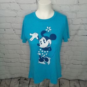 Disney Minnie Mouse graphic teal blue tee Sz S